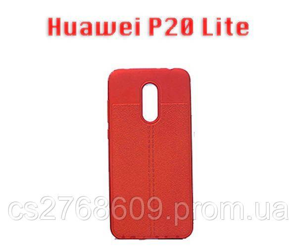 """Чехол силікон """"Шкіра"""" Huawei P20 Lite, ANE-LX1 червоний AUTO FOCUS"""