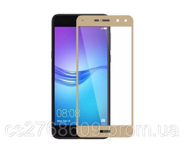 Защитное стекло захисне скло Huawei Y3 2018 золотий (тех.пак)