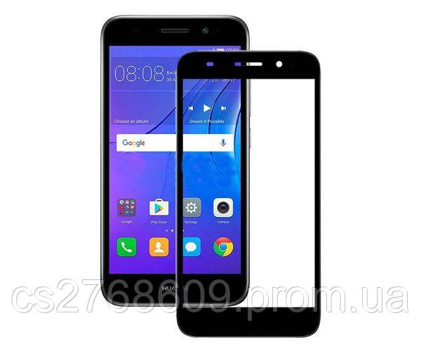 Защитное стекло захисне скло Huawei Y3 2018 чорний (тех.пак)