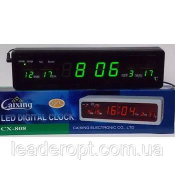 ОПТ Настільні електронні годинник з будильником і термометром Caixing CX 808 green
