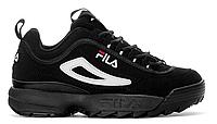 """Жіночі Кросівки Fila Disruptor II """"Black Suede"""" - """"Чорні Білі"""", фото 1"""