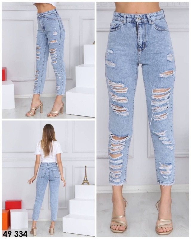 Рваные джинсы женские голубые
