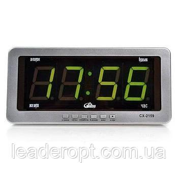 ОПТ Настільні електронні годинник з будильником і термометром Caixing CX 2159 green