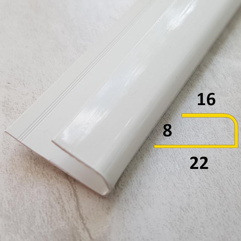 Стартовый профиль для ПВХ панелей толщиной 8 мм L-образный длина 3 м Белый глянцевый