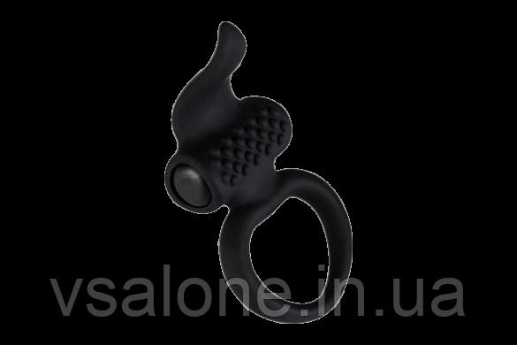 Ерекційне виброкольцо Adrien Lastic Lingus Black з язичком і щіточкою для стимуляції клітора