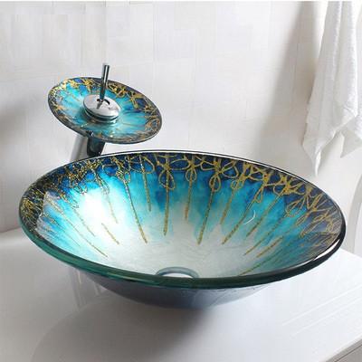 Круглая стеклянная раковина в ванную комнату. Модель RD-90701