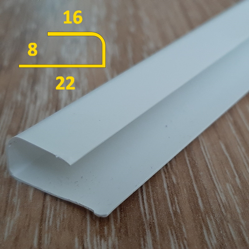 Стартовый профиль для ПВХ панелей толщиной 8 мм L-образный длина 3 м Белый
