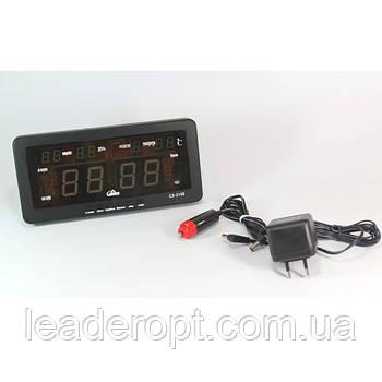ОПТ Настольные электронные часы с будильником и термометром Caixing CX 2158 green