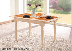 Стол обеденный раскладной с керамической плиткой   СТ2950 цвет беленый дуб оранжевая  плитка, Малайзия