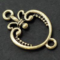 Коннектор Металл, 2 отверстия, Цвет: Античное Золото, Размер: 22х14х2мм, Отверстие 1.5мм, (УТ000007330)