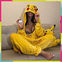 Пижама Кигуруми Пикачу для взрослых и детей, теплый Велсофт, унисекс