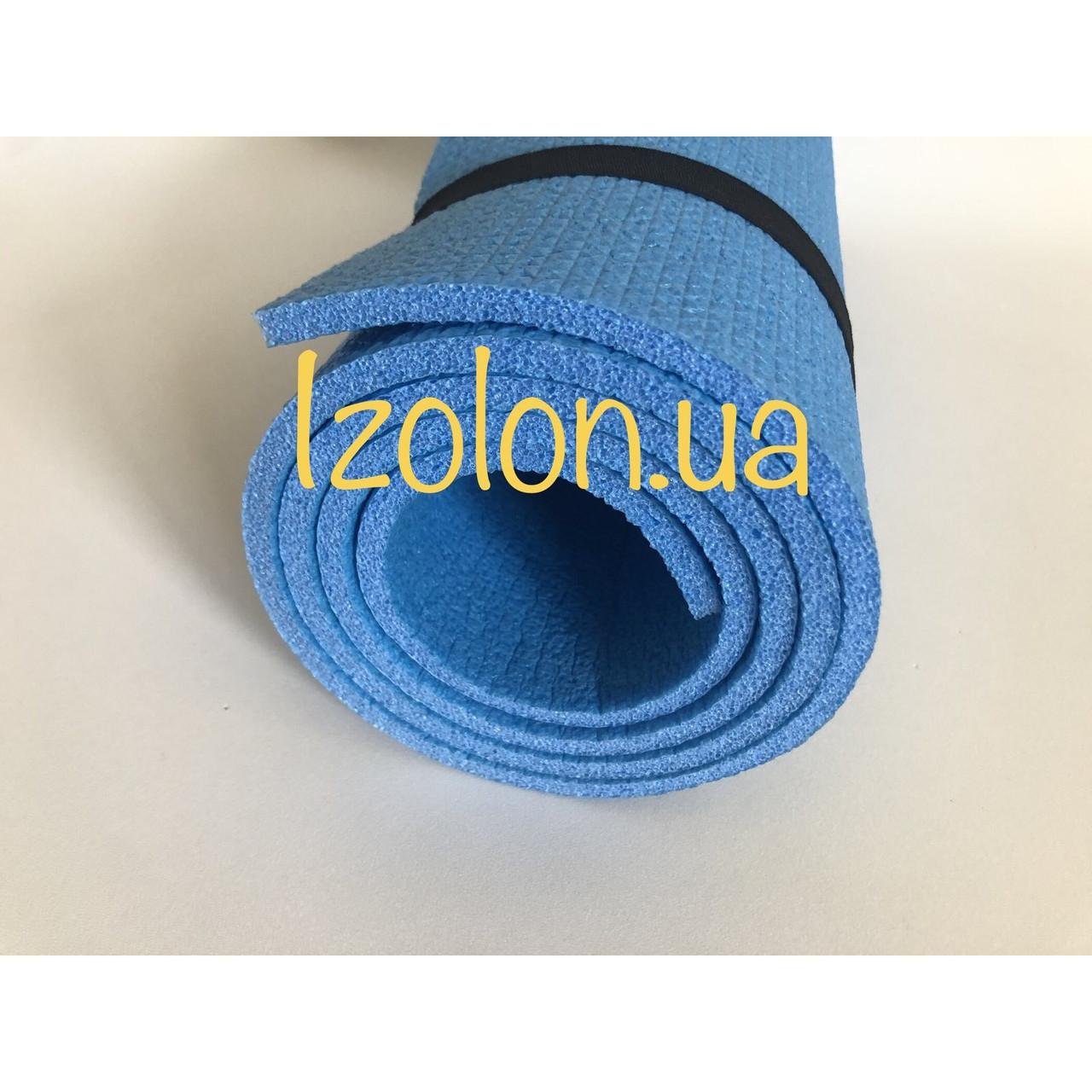 """Коврик туристический IZOLON  """"Драйв 8"""" (1800 х 600 х 8 мм.)  синий ,  резинки в комплекте."""
