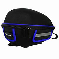 Багажник под седло West Biking 0707151 Black + Blue для велосипеда с отражателями + чехол, фото 2