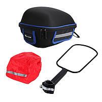 Багажник под седло West Biking 0707151 Black + Blue для велосипеда с отражателями + чехол, фото 8