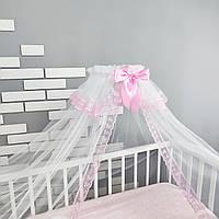 Балдахин на детскую кроватку в бело-розовом цвете с мелким розовым кружевом