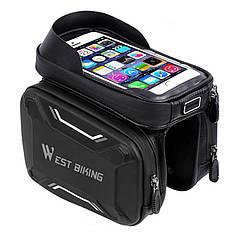 Сумка на раму West Biking Smart 0707213 Black + Gray велосипедная для смартфона и инструментов