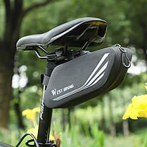 Велосумка West Biking 0707219 0.7L Black под седло с отражателями горизонтальная, фото 3