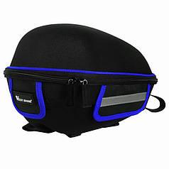 Вело багажник под седло West Biking 0707151 Black + Blue с отражателями + чехол