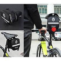 Сумка велосипедная West Biking 0707228 1,1L под седло Black с отражателями, фото 3