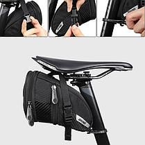 Сумка велосипедная West Biking 0707228 1,1L под седло Black с отражателями, фото 2