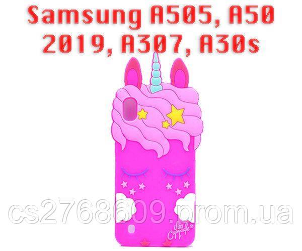 Чехол силікон Єдиноріг Samsung A505, A50 2019, A307, A30s 2019, A507, A50s 2019 рожевий