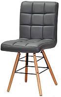 Стул Marcus Q серый кожзам, на деревянных буковых ножках, дизайн Charles Eames