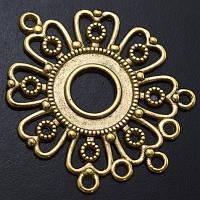 Коннектор Цветок Металл, 6 отверстий, Цвет: Античное Золото, Размер: 35.5х29х1.5мм, Отверстие 1.5мм, (УТ0003028)