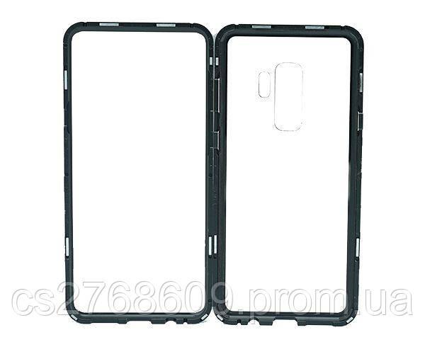Бампер Металевий-Скляний Samsung S9 Plus, G965 чорний
