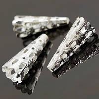 Конус Шапочки для Бусин, Железные, Цвет: Серебро, Размер: 9х22мм, Отверстие 3мм, (БА000000743)