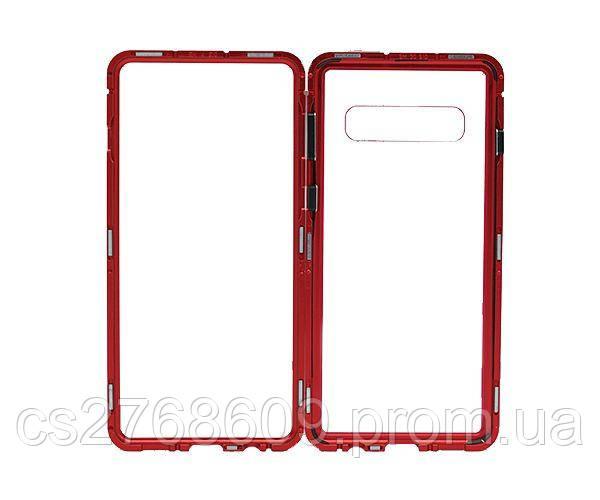 Бампер Металевий-Скляний Samsung S10, G973 червоний