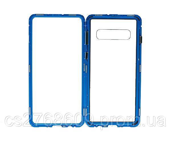 Бампер Металевий-Скляний Samsung S10, G973 синій
