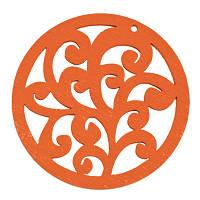 Кулон Деревянный Окрашенный, Круглый плоский, Цвет: Оранжевый, Размер: 50х2мм, Отв-тие 2мм, (БА000001052)