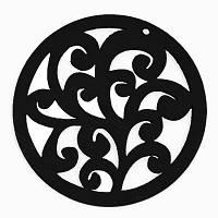 Кулон Деревянный Окрашенный, Круглый плоский, Цвет: Черный, Размер: 50х2мм, Отв-тие 2мм, (УТ000003771)