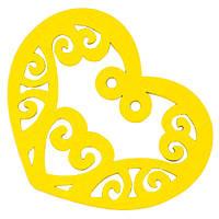 Подвески Деревянные Окрашенные, Сердце, Цвет: Желтый, Размер: 52х42х2мм, Отв-тие 2мм, (УТ000003781)