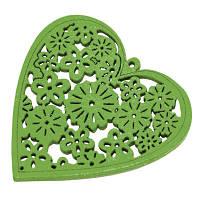 Кулон Деревянный Окрашенный, Сердце, Цвет: Зеленый, Размер: 40х39х2мм, Отв-тие 1.5мм, (УТ000003787)