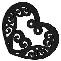 Подвески Деревянные Окрашенные, Сердце, Цвет: Черный, Размер: 52х42х2мм, Отв-тие 2мм, (УТ000003785)