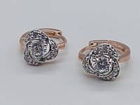 Сережки Розовая позолота кольца маленькие с белыми камнями