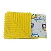 Комплект для прогулки (комплект в коляску) хлопок / плюш (совушки на голубом / желтый), фото 2