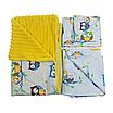 Комплект для прогулки (комплект в коляску) хлопок / плюш (совушки на голубом / желтый), фото 4