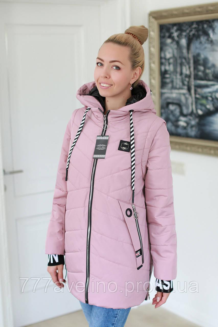 Куртка женская демисезонная трансформер в жилет (размеры с 52 по 60)