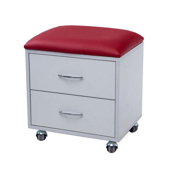 Пуфик-тумбочка косметологический на колесиках с выдвижными ящиками
