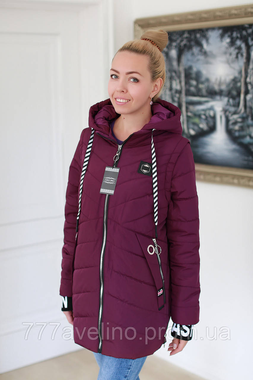 Куртка жіноча демісезонна трансформер в жилет (розміри з 52 по 60)