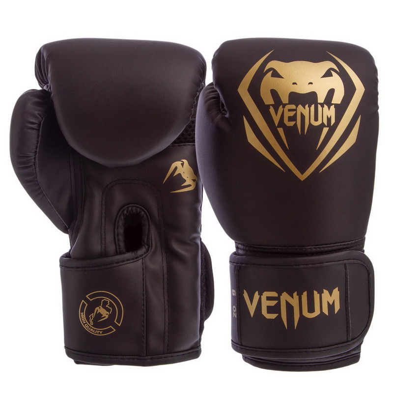 Перчатки боксерские PU на липучке VENUM 10oz черно-золотые BO-8351-BKG