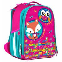 Школьный рюкзак для девочки (ранец) YES Hearts: каркасный, розовый, 14 л