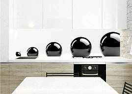 Кухонный фартук Черные сферы шары, виниловая самоклеющаяся пленка, белый, 600*3000 мм