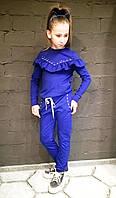 Костюм  для девочки голубой, черный, синий, пудра  с рюшей и белым  жемчугом