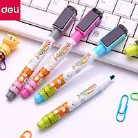 Маркеры для досок Deli 8714 микс набор 4 цвета, детские с губкой, магнитные