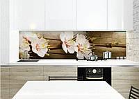 Кухонный фартук Цветы вишни на деревянном фоне, пленка виниловая с фотопечатью, Цветы, бежевый, 600*3000 мм