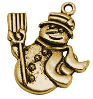 Кулон Снеговик, Металл, Цвет: Античное Золото, Размер: 29х25х2мм, Отверстие 3мм, (БА000001287)