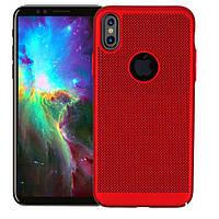 """Ультратонкий дышащий чехол Grid case для iPhone X (5.8"""") / XS (5.8"""") Красный"""
